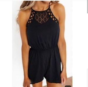 DOE & RAE black lace sleeveless romper